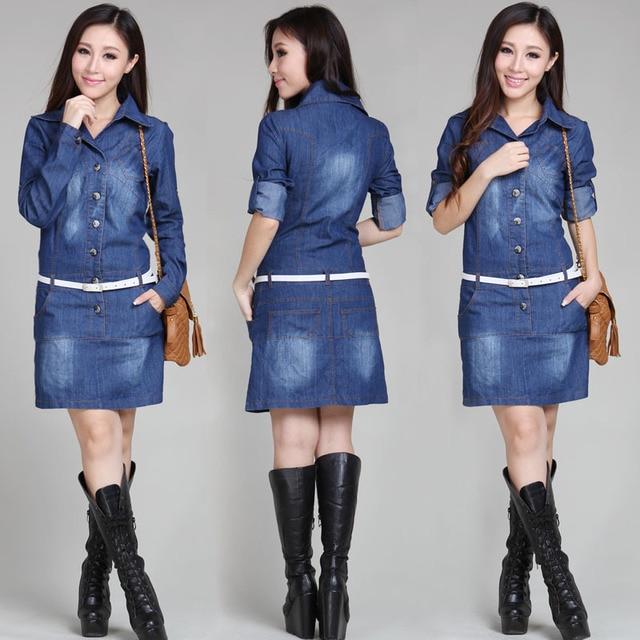 M-XXXXL New 2017 Fashion Women Long sleeve Casual Jeans Dress Large Size  4XL Vintage Denim Dresses Ladies Autumn Clothing 719ebf1702ab