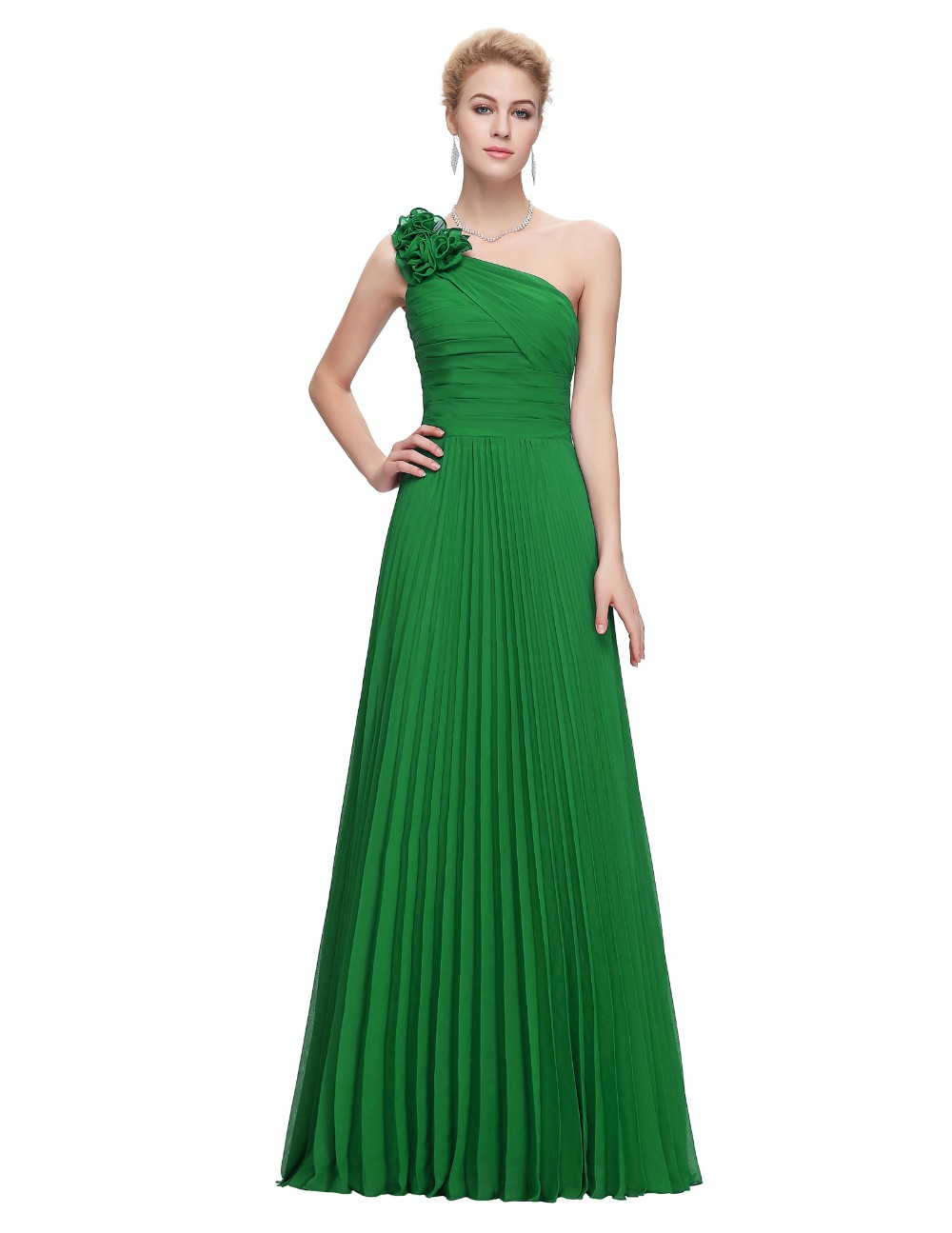Grace Karin Chiffon Long Evening Dress One Shoulder Pleated Red Green Purple Royal Blue Formal Evening Dress Party Gowns 2018 15