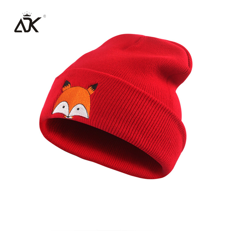 Cotton Blends   Skullies     Beanies   With Embroidery Fox Fashion Winter Hats For Men Unisex Knitted   Beanies   For Baby