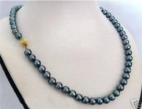 Hot sale new Style >18 9-10MM TAHITIAN NATURAL BLACK PEARL NECKLACEHot sale new Style >18 9-10MM TAHITIAN NATURAL BLACK PEARL NECKLACE