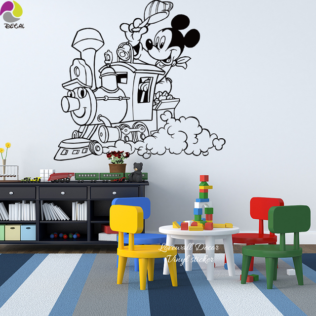Baby Nursery Cartoon Train Cloud Mickey Mouse Wall Sticker Cute Animal  Train Traffic Wall Decal, Part 37