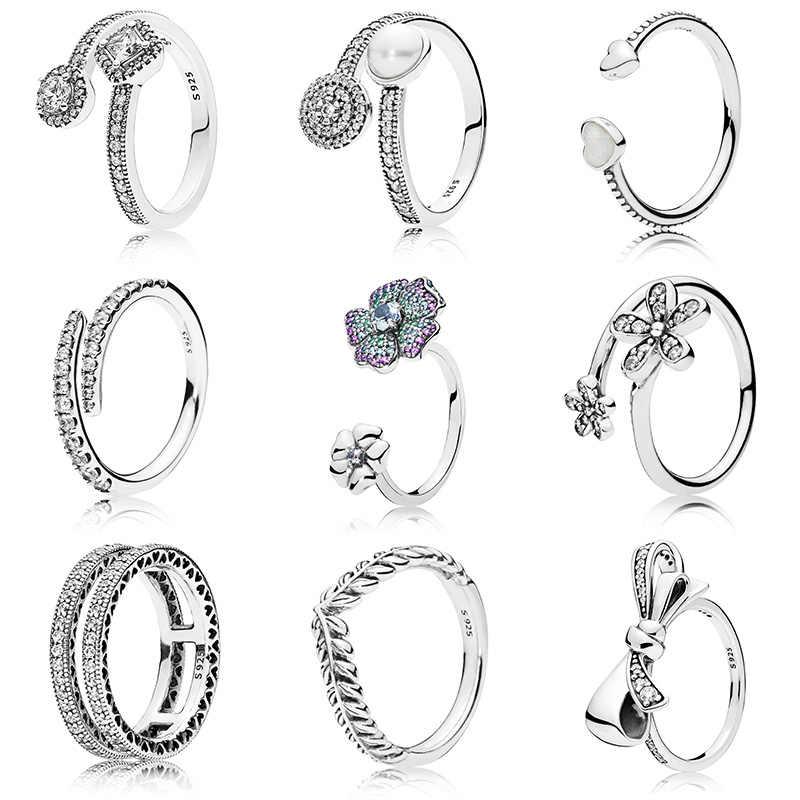 เดิม 925 เงินแหวนลายเซ็นโลโก้คลาสสิก Lotus ข้าวหูโบว์คริสตัลรอบเปิดแหวนนิ้วมือสำหรับผู้หญิงเครื่องประดับ