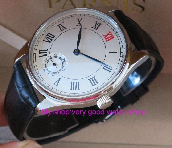 Сапфировое стекло 44 мм Parnis белый циферблат Азиатский 6498 Механический ручной взвод движения мужские часы механические часы 198