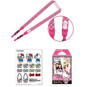 Image 4 - Розовая фотопленка Fujifilm Instax Mini Hello Kitty, лимитированная серия, 10 пленок Instax, чехол для камеры из ПУ, наклейка
