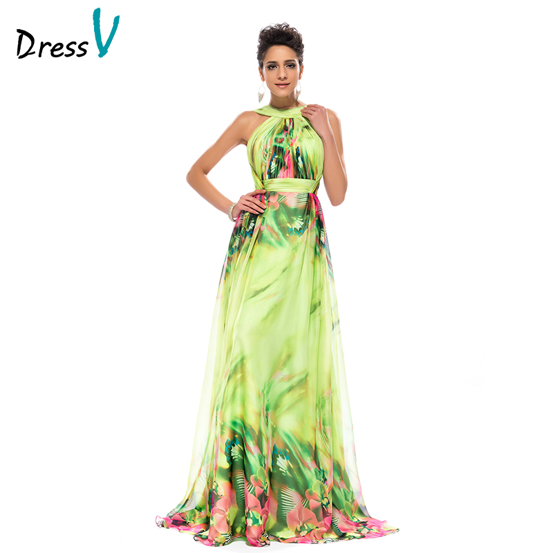 Dressv Evening-Dresses Backless Long Sleeveless HALTER A-Line Ruched-Printed Fashionable