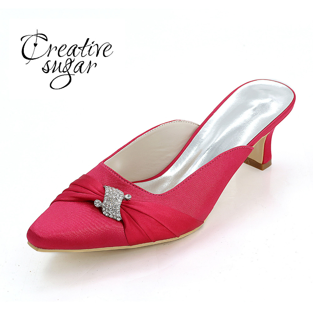 Creativesugar lady satin Mules hoof heel evening dress shoes elegant party pointed toe half slippers rhinestone pleated rose red new arrival lady fashion high heel shoes pointed toe dress shoes elegant flower closed toe party summer evening sandals c131