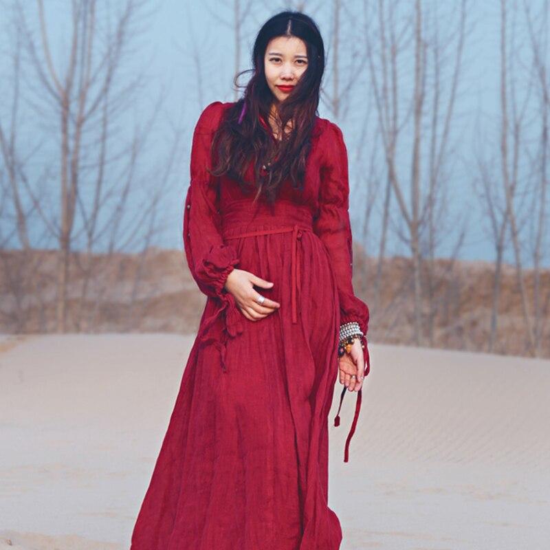 Khale Yose automne bohème robe à manches longues Vintage Hippie femmes Maxi robe Boho Chic gitane Folk fête plage longues robes 2019 - 5