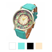 Fashion and delicate Pastorale Floral watches Women Leather Band Analog Quartz Dial Wrist Watch Free Shipping Dropshipping NA19