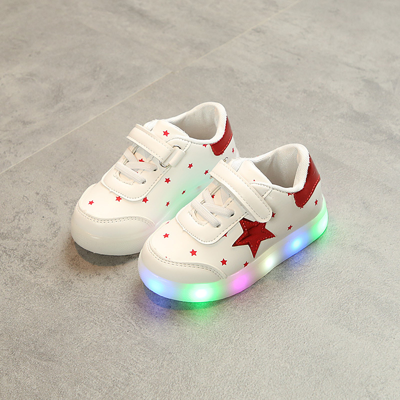 2018 new casual flat shoes girls boys led casual sneakers shoes star glowing light flush children sneakers baby flat sneakers