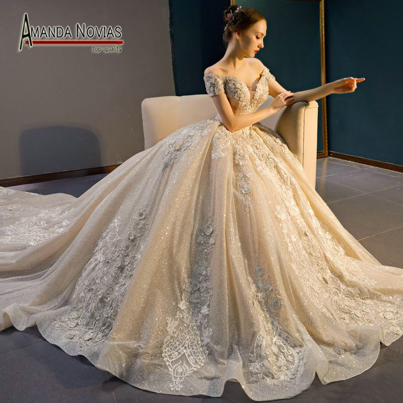 Wedding Gown Fabric Guide: Amazing New Design Off Shoulder Shinning Fabric Ball Gown
