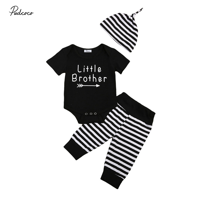 3pcs Newborn Baby Boys Clothes High Quality Little Brother Short Sleeve Romper Striped Pants+Hat Outfits Baby Clothing Set