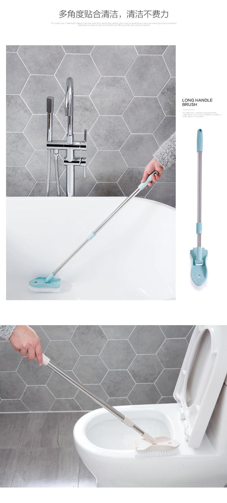 Retractable long handle cleaning brush bristle bathroom floor brush ...