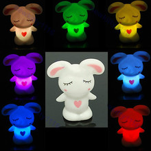 Rascal rabbit Romantic Colorful 7 Color Changing LED Lamp Night Light Kids Gift O06