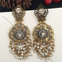 Carved Hollow Pearl Earring Long Tassel Earrings