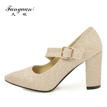 Fanyuan Women Shoes High Heels Elegant Belt Buckle Gold Sliver Bling Pumps Woman Pointed Toe Evening Party Wedding Ladies