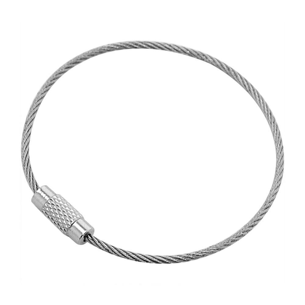 10pcs Multifunctional Stainless Steel Wire Rope Car Key Ring Silver 10cm
