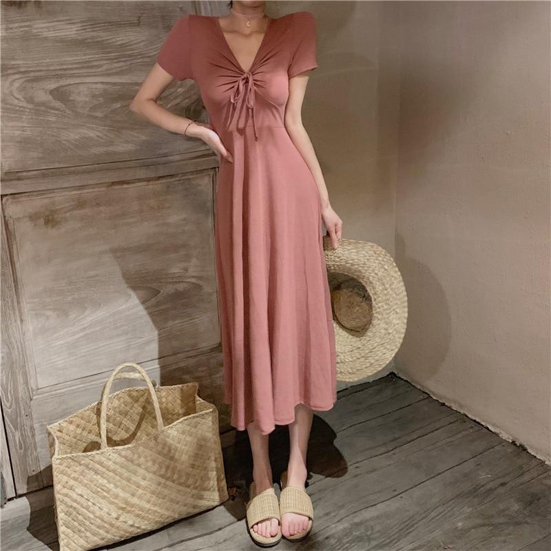 Femme nouvelle robe doux tempérament cordon robes en été de 2019 mi-long taille haute col en v en mousseline de soie dames vêtements