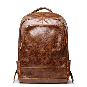 Nesitu High Quality New Vintage Brown Coffee Genuine Leather 14'' 15.6'' Laptop Men Women's Backpack Girl Male Travel Bags M8998