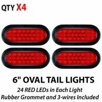 4pcs 6 Red 24 LED Truck Trailer Tail Light Reverse Backup Stop Brake Lamps Kit