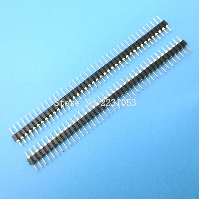 10PCS/LOT Gold Plated 2.54mm Male 40 Pin Single Row Straight Round Pin Header Strip
