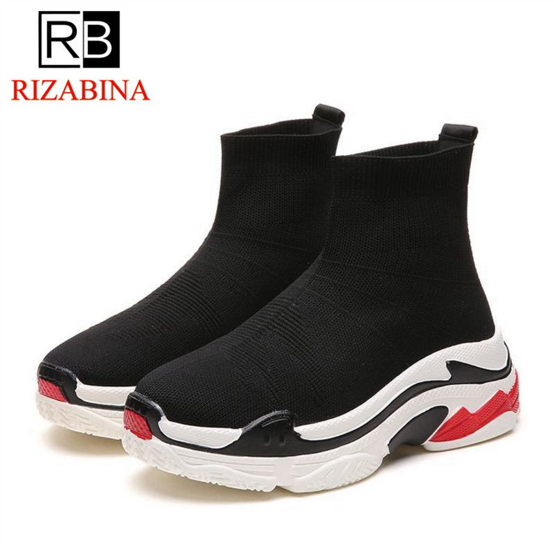 RizaBina Ladies Flats Boots Round Toe Platform Mixed Color Woman Ankle Boots Fashion New Design Short Boots Footwear Size 35-39