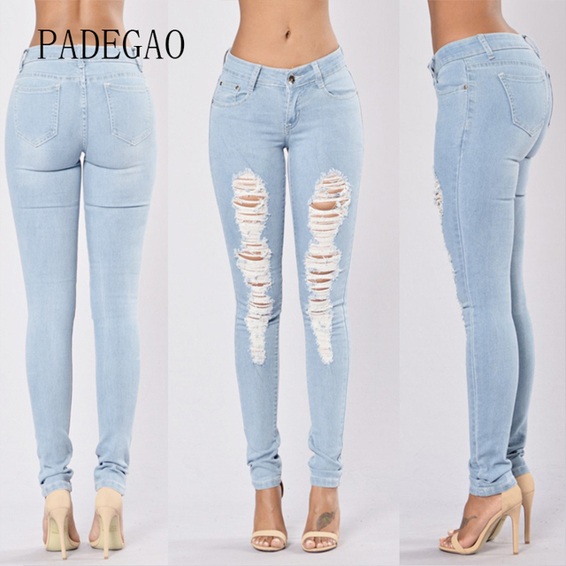 da30128ff44 Hot Sale Push Up Denim Mujer Skinny Ripped Capris Jeans Feminino ...