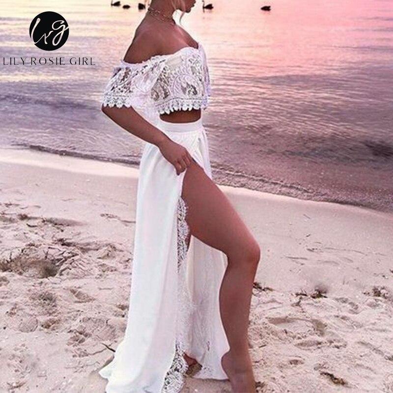 Lily Rosie Girl Bohemian Beach White Women Dress Off Shoulder Lace Casual Dress Hollow Out Split Sexy Maxi Dress Vestidos