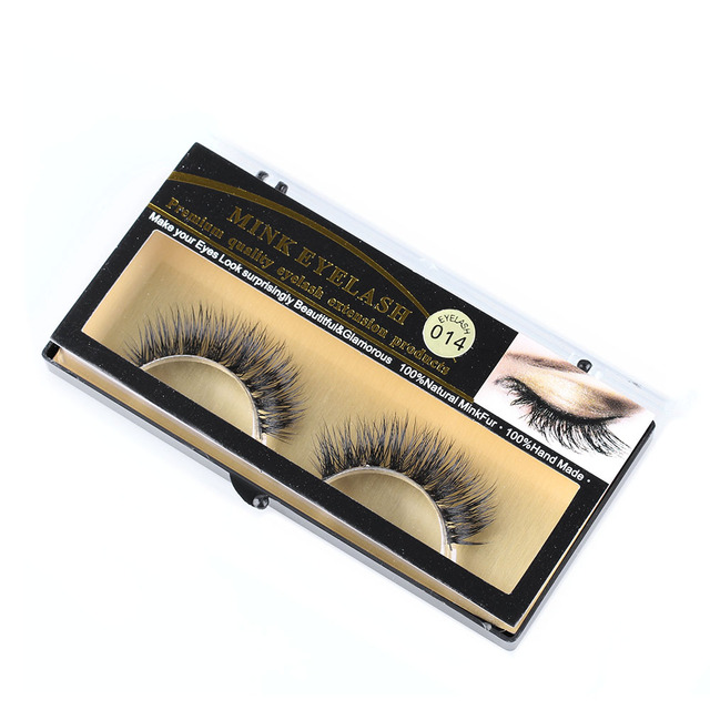 1 Pair New Fashion Women Beauty Makeup 100% Handmade Real Mink Hair Natural Soft False Eyelashes Cross Lashes Fake Eyelashes 2