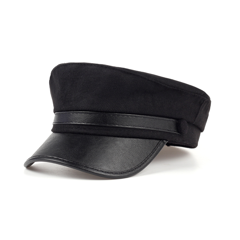 newest Unisex Black/dark grey Leather visor Military Caps For Man Woman Students Navy Flat Fitted Drake Hats flat caps wholesale