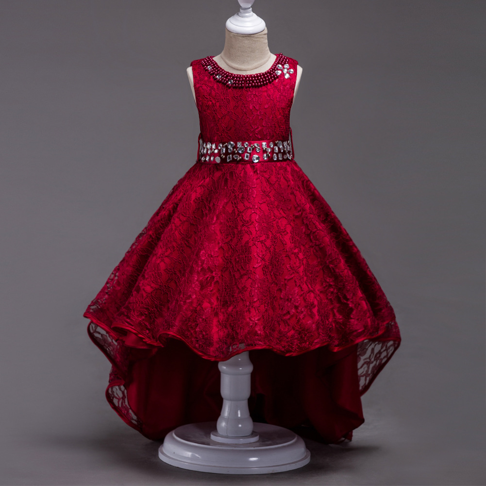 Sleeveless O-Neck Bow Bling Sequined Pattern Crystal Lace Kids Princess   Flower     Girls     Dress   Party