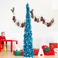 Collapsible Tinsel Christmas Tree with Plastic Stand Shiny Tinsel Reflective Sequins Artificial Home Decor New Year Tree