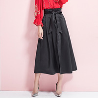 2019 high quality explosion models pleated solid color business women's tie belt waist long skirt ladies slit big swing skirt