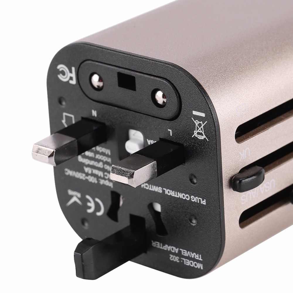 Wszystko w jednym uniwersalnym międzynarodowa przejściówka elektryczna 2 Port USB świat podróży ładowarka AC Adapter Adapter z AU usa wielka brytania ue wtyczka