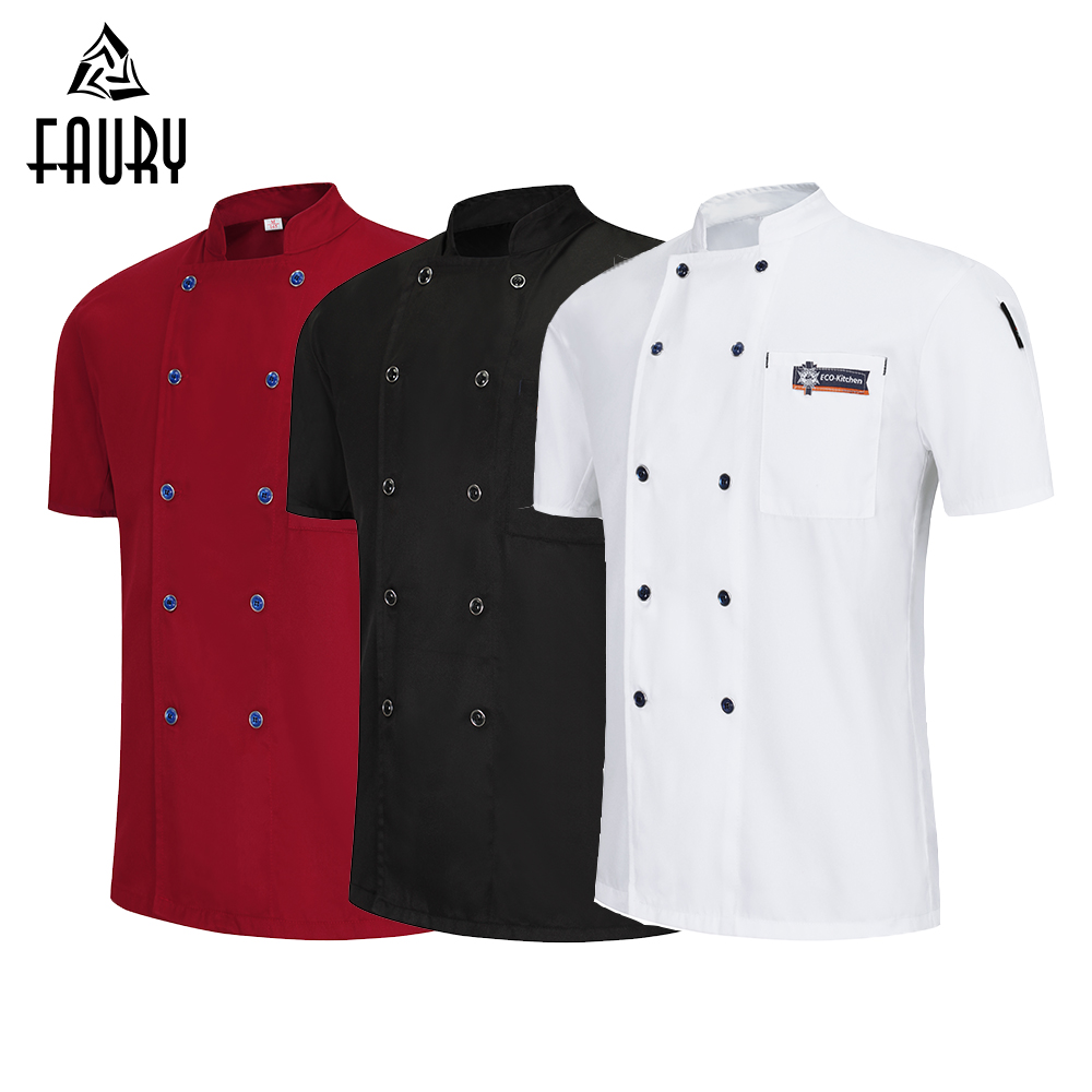 Chef Jacket Summer Short Sleeve Cook Shirt Unisex Chef Kitchen Restaurant Uniform Sushi Hotel Work Clothes