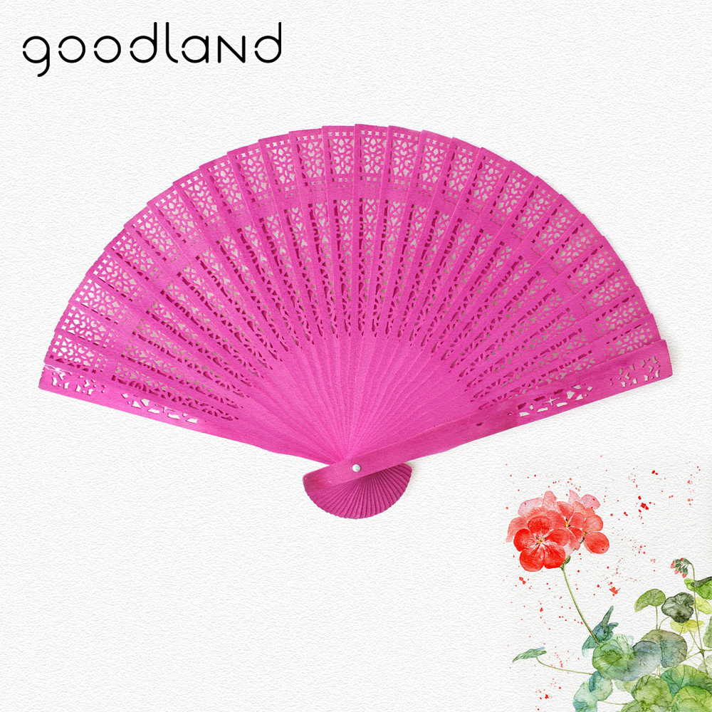 Free Shipping 1pcs Beauty Home Decoration 20cm Crafts Wooden Fan Folding Hollow Carved Hand Fan Flower Wedding Bridal Party Gift