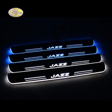 LED door sill for Honda Jazz 2014 2015 Led moving lights door scuff plate Pathway light Car styling decoration accessories цена