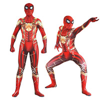 Iron Spider Cosplay Costumes Adult Zentai Spiderman Costume Superhero Bodysuit Suit Jumpsuit Halloween Party