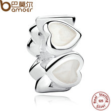 BAMOER Original 925 Sterling Silver White Heart Beads Charm Fit  Bracelet & Necklace DIY Jewelry PAS243