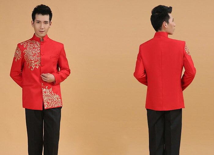 Vêtements de mariage chinois rouge homme tunique Costume à manches longues chinois traditionnel vêtements mâle chinois Folk Top 18