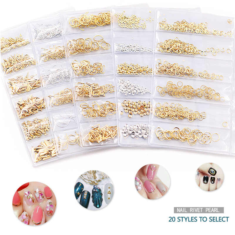 1 Pack Mix 3D Hollow Metal Nail Art Decorations Gold Silver Rivet DIY Nail Studs Pearl Manicure Accessories