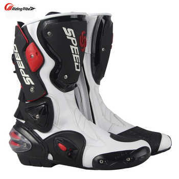 Motorcycle Boots Men\'s Speed Motocross Racing Microfiber Leather Boot Motorbike drop resistance boots - DISCOUNT ITEM  40 OFF Automobiles & Motorcycles