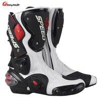 Motorrad Stiefel männer Geschwindigkeit Motocross Racing Mikrofaser Leder Boot Motorrad drop widerstand stiefel-in Motorrad-Stiefel aus Kraftfahrzeuge und Motorräder bei