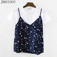 JKKUCOCO 2017 Newest Style Little Flowers Print Rib Cotton T Shirt Women Short Sleeve Summer T