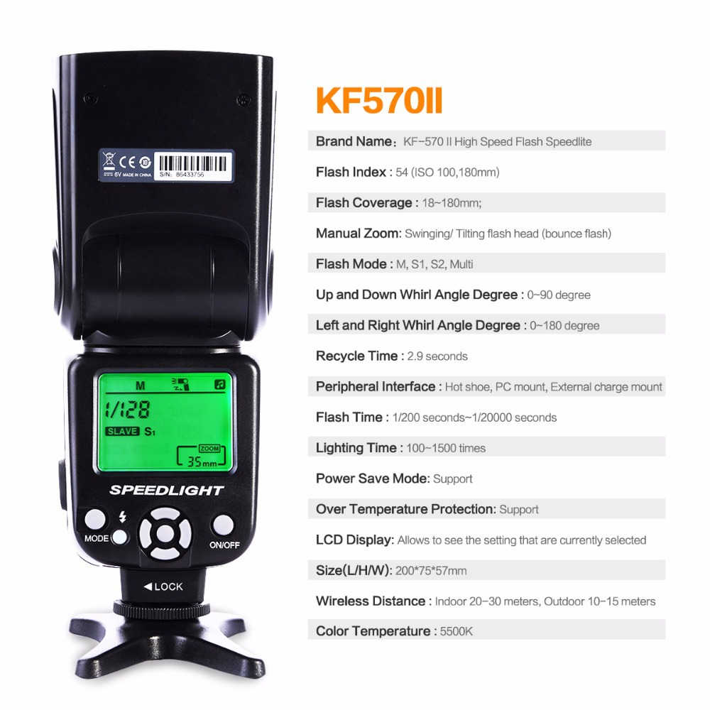 KF CONCEPT 570II GN54 High Speed Flash Speedlite For Nikon D3100 D5100 D50 D60 D70 D700 D3S Canon 400D 550D 600D In Flashes From Consumer
