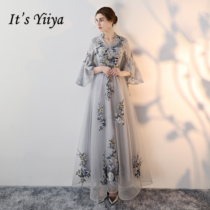 It's Yiiya 2018 V-Neck   Evening     Dresses   High Quality Fashion Floor Length Flowers Embroidery Eleagnt Formal   Dress   LX330