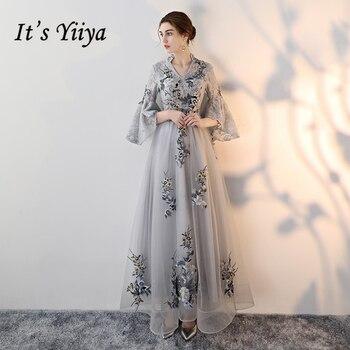 b947dbf27fa79bd It's Yiya/2018 вечерние платья с v-образным вырезом высокого качества,  модное платье в пол с цветочной вышивкой, торжественное платье LX330