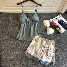 QWEEK, шелковые пижамы для женщин, цветочный женский пижамный комплект, лето, пижамы для женщин, атласная пижама с v-образным вырезом, Pijama Mujer, комплекты из 2 предметов