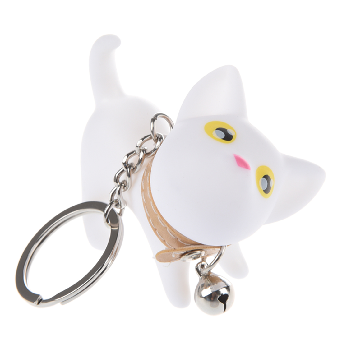 Cute Cat Key Chain/Kitten Key Ring/Bag Ornament With Bell-White