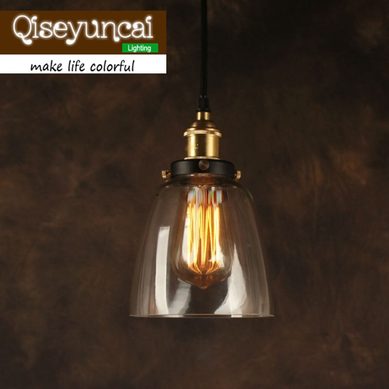 clear glass funnel filament pendant light american country t
