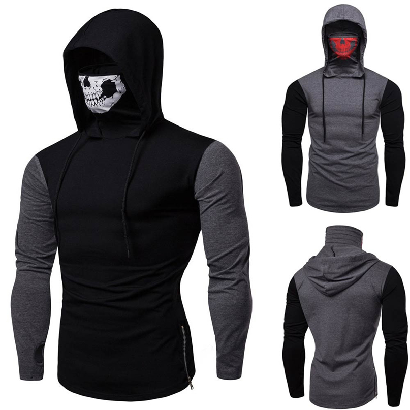 Cycling Sweatshirt Long-Sleeve Winter Fashion Skull Men Windproof Blouse Mask Pullover